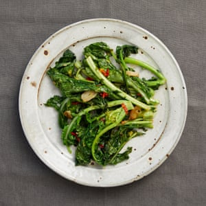A side dish of sauteed turnip tops, chilli, garlic and lemon.