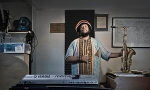 Kamasi Washington at home in Los Angeles.