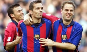 Franks De Boer (right) with teammates Luis Enrique and Philippe Cocu during his playing days with Barcelona