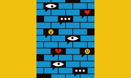 Illustration of a wall with eyes and emojis