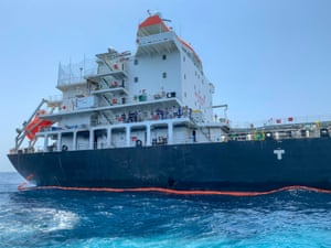 A photo shows damage to the Japanese oil tanker Kokuka Courageous in Fujairah, United Arab Emirates