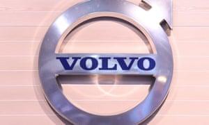The logo of Swedish truck maker Volvo.