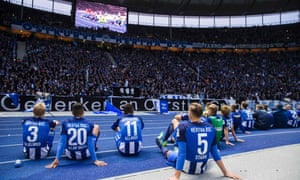 Hertha Berlin players and fans after the match with Cologne
