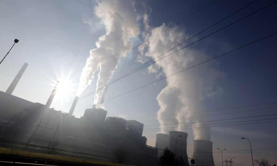 Steam rising from cooling towers