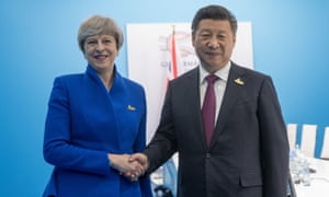 Theresa May with Xi Jinping at a G20 gathering in Hamburg in 2017.