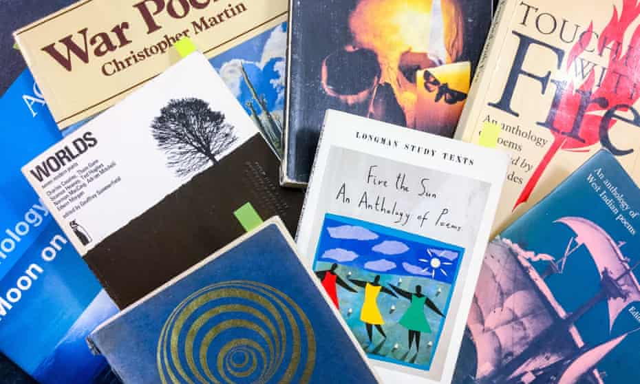A collection of school poetry anthologies, some included in the Cambridge University library exhibition Despised, Adored and Often Ignored.