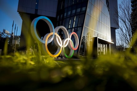 The Olympic rings are displayed in front of the Japan Olympic Museum in Tokyo.