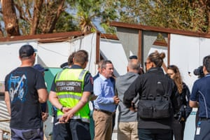 Western Australia's premier, Mark McGowan, speaks to journalists on 13 April in Kalbarri.