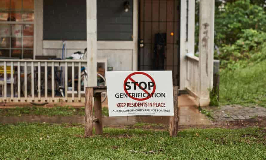 Stop Gentrification sign outside a residents home in the Pittsburgh neighborhood, Atlanta, GA