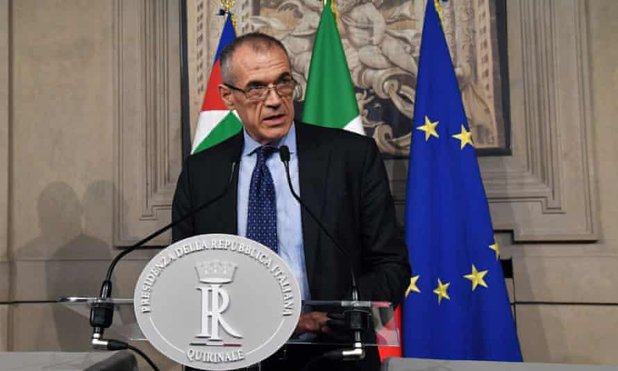 Carlo Cottarelli speaks at a press conference in Rome, Italy