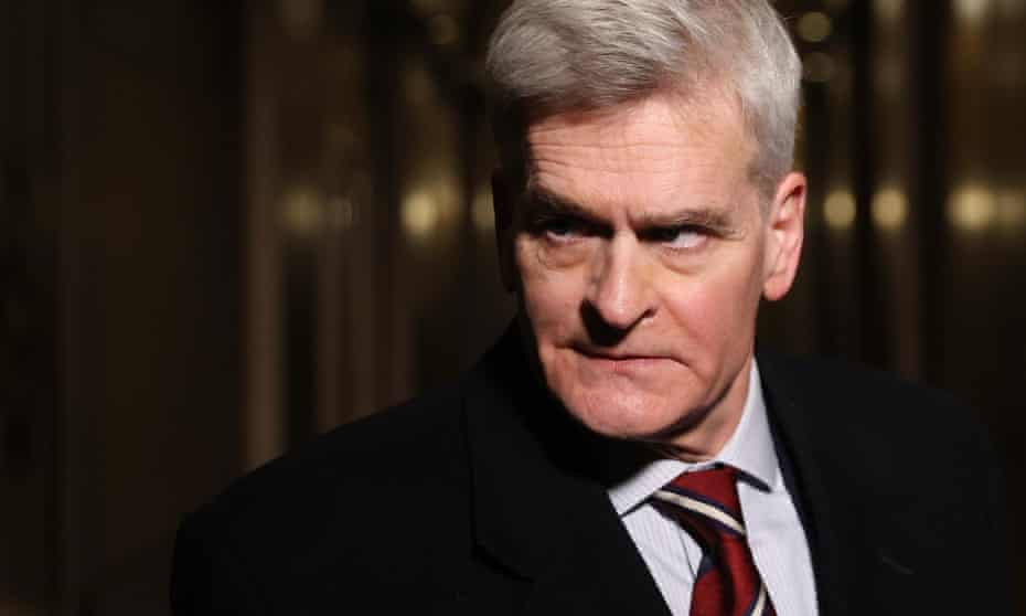 Bill Cassidy talks with reporters during Donald Trump's second impeachment trial.