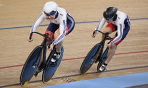 Jess Varnish, left, and Katy Marchant during their unsuccessful attempt to qualify for the Olympics at the 2016 Track Cycling World Championships in London