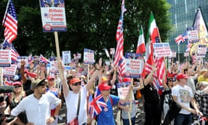 Trump supporters rally outside the US embassy in London