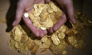 The largest hoard of gold coins found in Israel was discovered in the seabed of a harbour in the Mediterranean Sea port of Caesarea National Park. The coins, almost 2,000 of them, are from the C11th and were discovered by a group of divers.