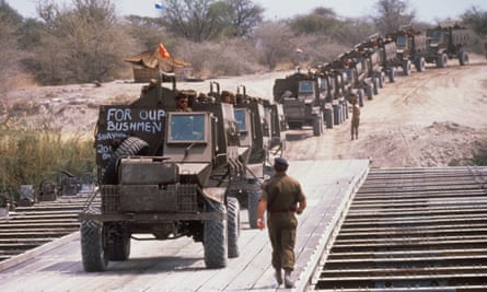 South African troops pulling out of Angola in 1988.