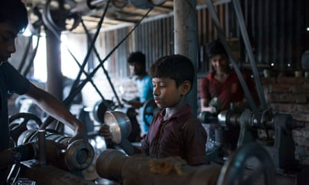 If child labour was wrong in the London of the 1820s, what makes it right in the Dhaka of the 2010s? Above, children working at an aluminium utensils factory in Dhaka, Bangladesh.