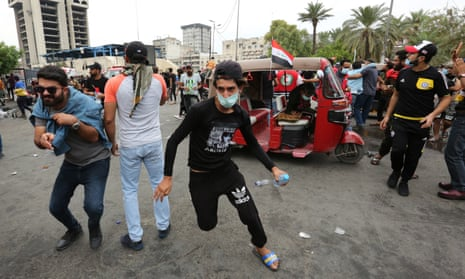 Anti-government protesters in Baghdad, 25 October 2019.