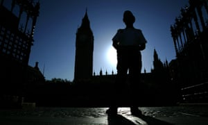 A police officer outside parliament