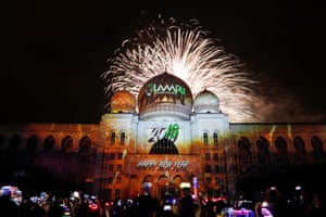 A burst of fireworks behind the Palace of Justice in Putrajaya, Malaysia.