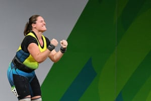 Deb Lovely-Acason of Australia in action during the women's +90kg weightlifting final