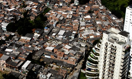 An aerial view of Paraisópolis, the biggest favela in São Paulo