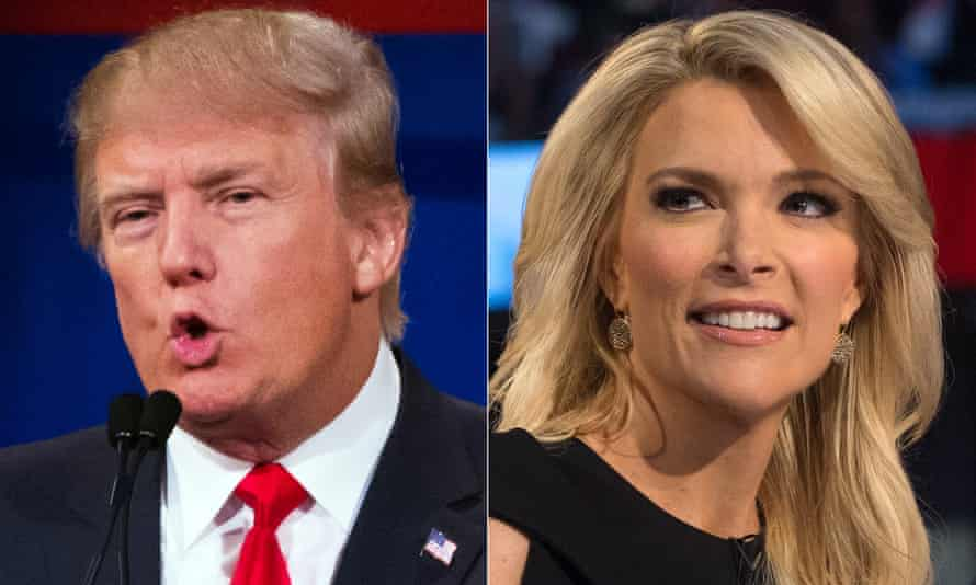 Donald Trump; Megyn KellyThis combination made from Aug. 6, 2015 photos shows Republican presidential candidate Donald Trump, left, and Fox News Channel host and moderator Megyn Kelly during the first Republican presidential debate at the Quicken Loans Arena, in Cleveland. Trump had already slammed the president, Democratic front-runner Hillary Rodham Clilnton and his Republican rivals in the race for the White House. To that fast-growing list he has now added Kelly. (AP Photo/John Minchillo)
