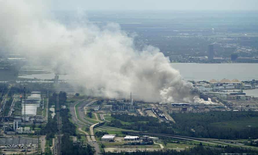 A chemical fire burns at a facility during the aftermath of Hurricane Laura in Lake Charles on Thursday.