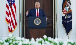 Trump speaks to reporters from White House steps