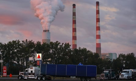 Emissions spew from a coal-fired generating station in Newburg, Maryland on 10 October 2017.