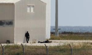 A police sniper at Larnaca airport.