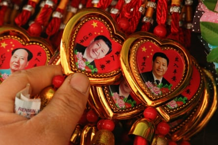 Souvenir necklaces of Xi Jinping on a stall in Beijing