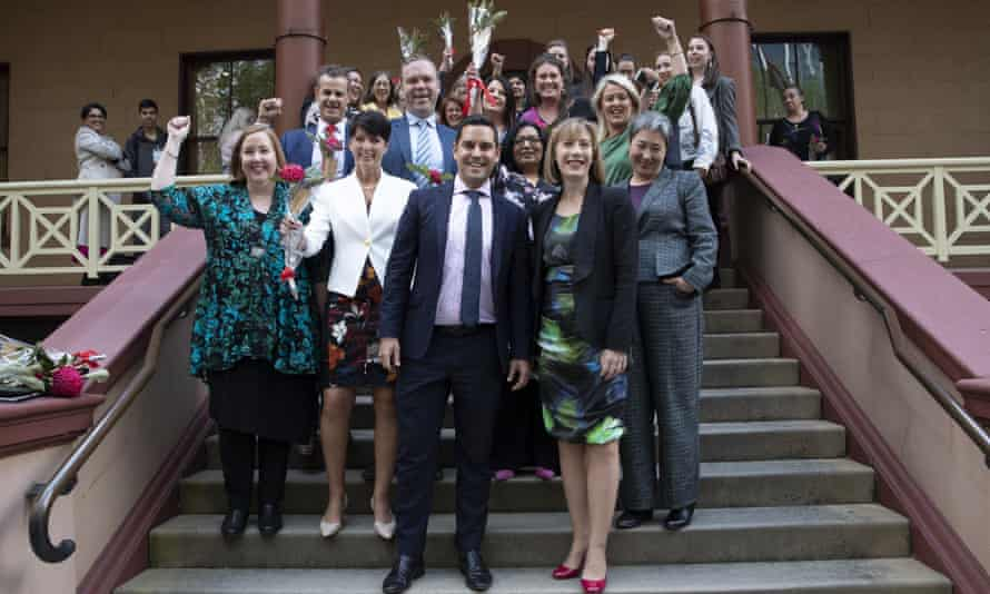Independent MP Alex Greenwich (centre left) and co-sponsoring MPs outside parliament after abortion was decriminalised