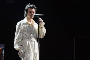 Harry Styles performs the ballad Falling at Tuesday night's Brit awards ceremony.