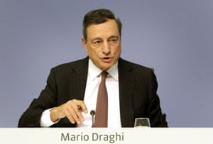 Mario Draghi at today's press conference.