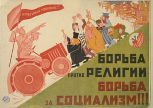 A poster showing workers advancing against the church. The text says that the struggle against religion is the struggle for socialism. By M Rabinovich, 1930