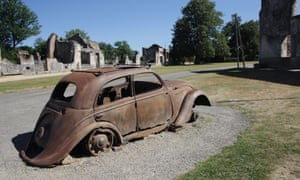 The remains of a Peugeot 202 car in the village of Oradour-sur-Glane, France.