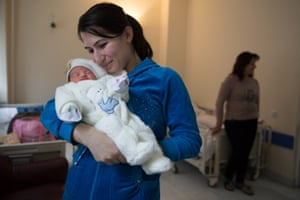 Varduhi Vardumyan from Tavush region, with her three day-old daughter at Republican Maternity Hospital in Yerevan