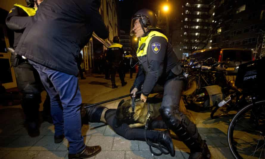 A police dog bites a demonstrator after riots broke out during a pro-Erdoğan demonstration in Rotterdam.