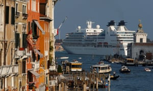 A cruise ship sails in the Venice lagoon in 2014.