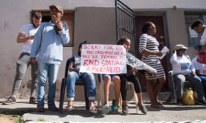 Residents of Bromwell street in Woodstock protest neighbourhood evictions at the Biscuit Mill