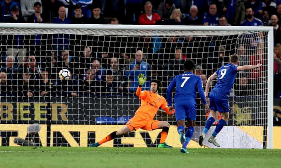Jamie Vardy scores Leicester's second goal of the game from the penalty spot after Demarai Gray was brought down
