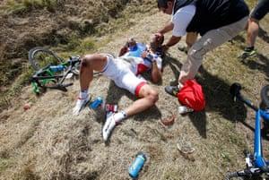 FDJ rider William Bonnet receives medical help