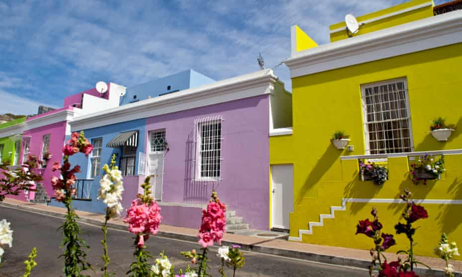 Colourful homes in the desirable district of Bo-Kaap, Cape Town, South Africa.