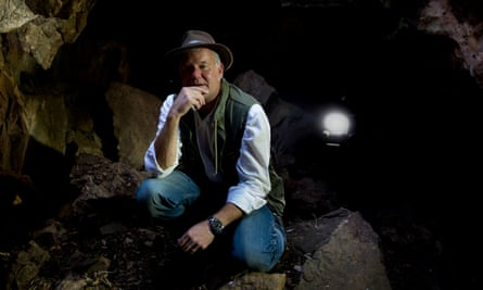 Professor Lee Berger inside the Rising Star cave in South Africa where a new species of early humans named Homo Naledi were discovered.