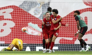 Curtis Jones enjoys his first league goal for Liverpool.