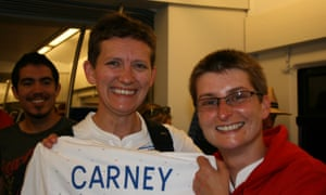 Lisa and Sam after England beat Japan in the 2011 World Cup in Germany.