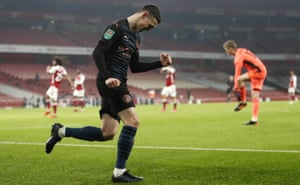 Manchester City's Phil Foden celebrates after scoring his team's third goal.