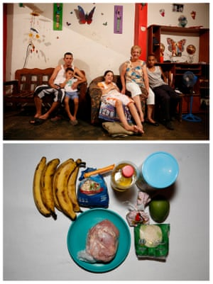 """A combination photo shows Alida Gonzalez (2nd R) posing for a picture next to her relatives (L-R) Manuel Garcia, Jesus Garcia, Maira Hernandez and Nixon Urbano (top) and the food they have at their home in Caracas, Venezuela April 15, 2016. """"With the money we used to spend on breakfast, lunch and dinner, we can now buy only breakfast - and not a very good one,"""" Gonzalez said."""