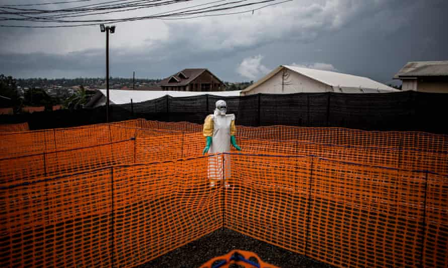 A health worker in Democratic Republic of Congo wears protective clothing during Ebola virus outbreak in 2018.