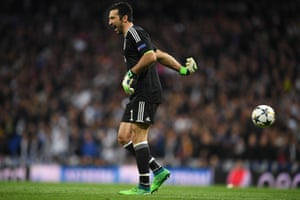 Buffon throws the ball away after receiving the red card.